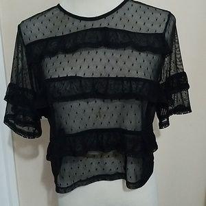 Tops - Small/medium shirt black polka dot lace forever21